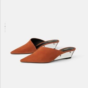 Zara mini leather wedge shoes